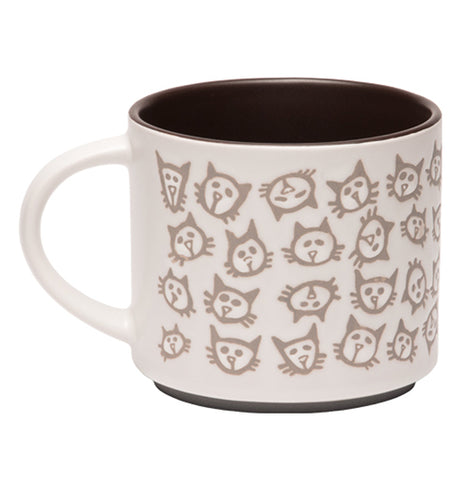"The Pop of Color ""Scatter Cat"" Mug has a design of etched scattered cats' head on a white colored mug, they inside is black"