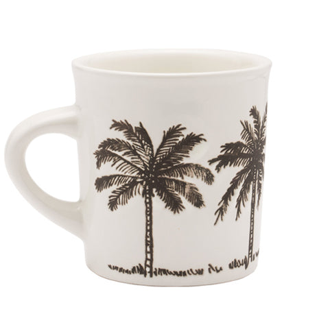 This white mug features a black palm tree design.