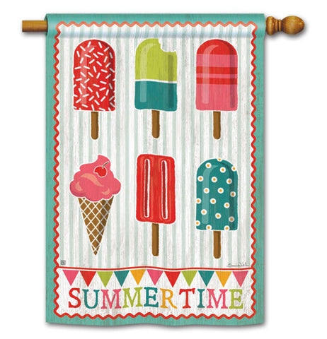 "This garden flag has the words, ""Summer Time"" printed at the bottom of it in red, green, teal, and magenta lettering with a wreath and different types of ice cream with a blue and white striped background. It also has a red and blue border and attached to a wooden pole.."