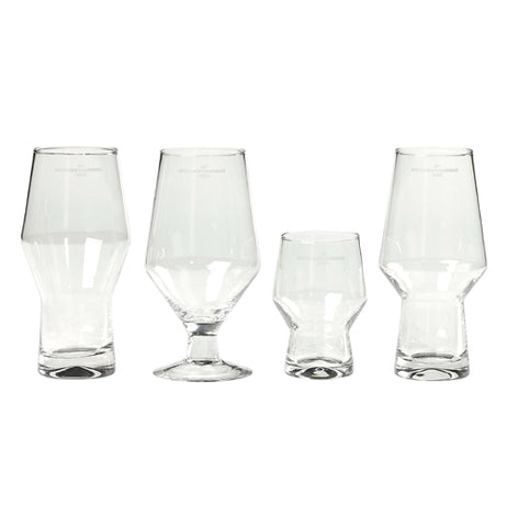 Four differently shaped drinking glasses are shown. The first is a half size, the second is a pint, the third has a tulip shape to it, and the fourth is an IPA.