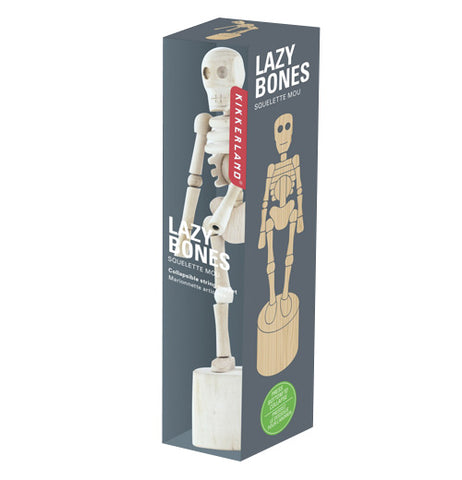 "Kikkerland Lazybones skeleton in it's package.The package is gray with a clear plastic front that has the printed words ""Lazy Bones"" and shows the item and an illustration on the side."