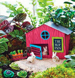 "The 3 ""Cabbage"" Garden Picks are with the miniatures of the Hop Inn, the rabbits, the basket of carrots, and a real garden."