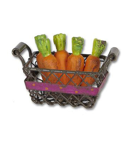 "The ""Carrot Basket"" Mini Basket has mini orange carrots that looks realistic."