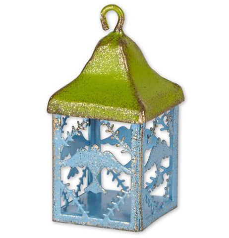 "The ""Mini Bird Lantern"" has the garden decoration with the green top along with blue birds with holly branches on the bottom."