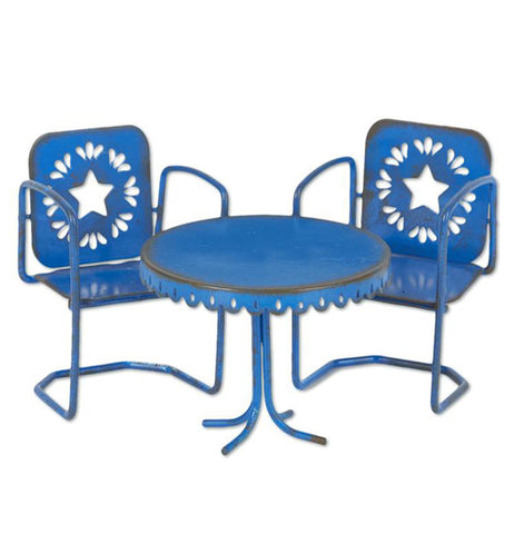 These blue chair feature multiple cut outs of stars. This set of two chairs also come with a blue around table.