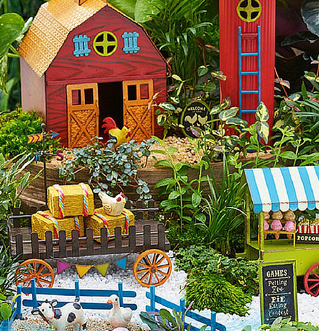 The Mini Farm Wagon works well with the imaginative miniature farm sets outside the garden.