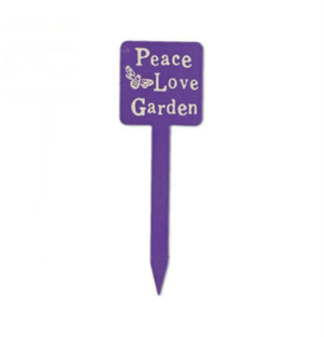"Mini garden stake is purple with the words ""Peace Love Garden."""