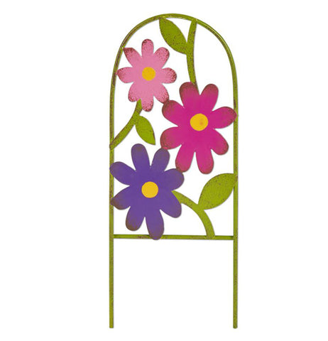 This miniature green sculpture is of an archway with a pink flower, a magenta flower, and a purple flower all attached to it.