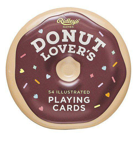"White donut shaped box of ""Donut Lover's"" playing cards that features brown frosting with orange, pink, yellow, and blue sprinkles on a white background."