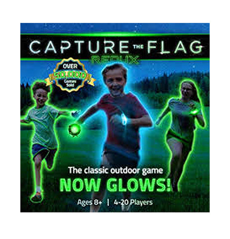 "This box contains equipment for a game of ""Capture the Flag"" that glows in the dark. It features the image of two boys and one girl running through a field with a glowing green ball. The words, ""Capture the Flag Redux"" are shown at the top of the image in white and green lettering. At the bottom are the words, ""The Classic Outdoor Game Now Glows"" in white and green lettering."