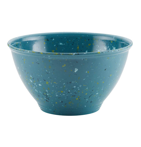 "Front view of ""Agave Blue"" garbage bowl with yellow and white speckles."