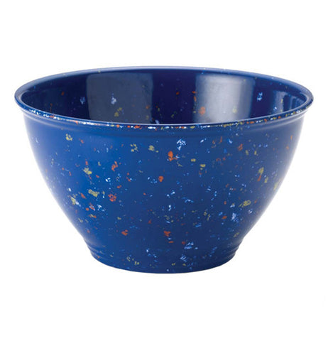 Blue and speckled garbage bowl.