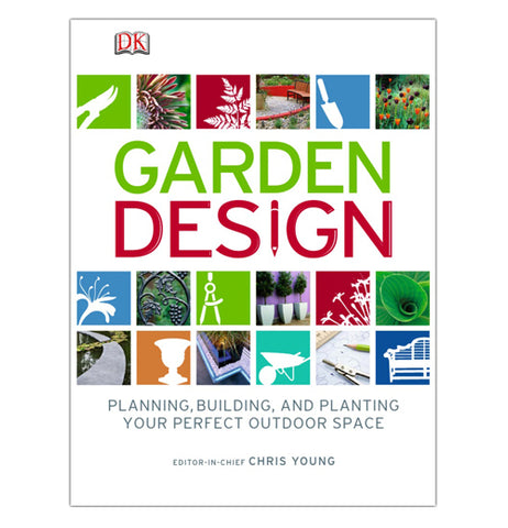 "The ""Garden Design"" Book has encyclopedias on gardening, and much more from the front modernized cover, which has pictures of different plant  and tool icons."