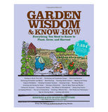 "This book cover says, ""Garden Wisdom and Know-How"" on it in brown lettering. It has an illustration of a farm on the cover with a silo and field of crops."