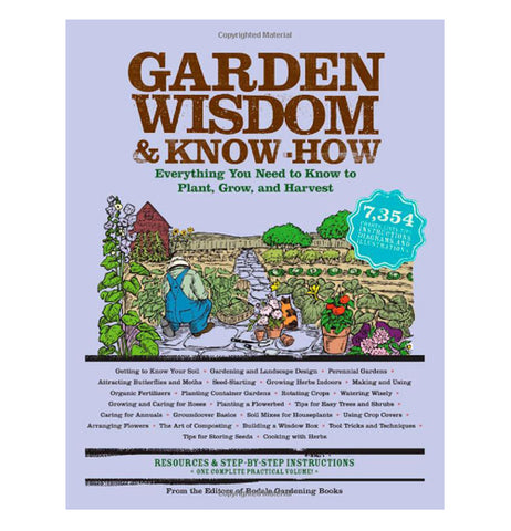 "this book cover says ""Garden Wisdom and Know-How"" on it. There's a illustration of a farm on the cover."