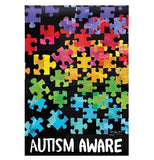 "The ""Autism Awareness"" garden flag is shown without the flag holder."