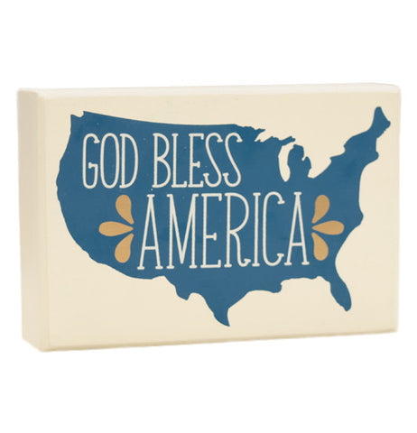 "Box Sign that say's ""God Bless America"" in white with blue background shaped like the United States."