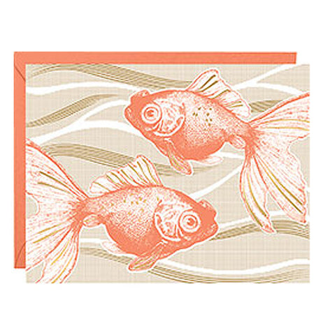 Tan notecard with 2 orange goldfish and orange envelopes.