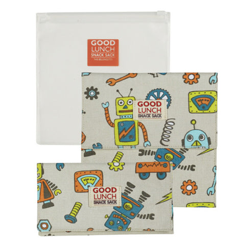 This is a set of three reusable snack sacks: two have robots, one is clear.