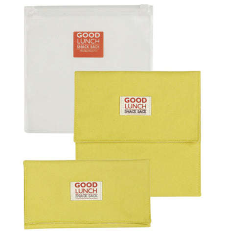 Set of three reusable snack sacks: two yellow, one clear.