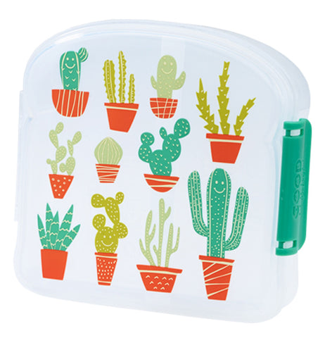 A semi-clear cactus and desert themed sandwich container.