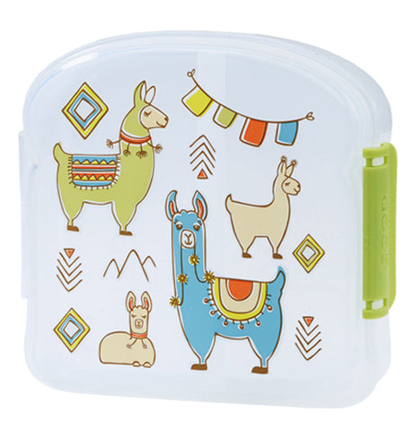 This semi-clear sandwich box features several cuddly and colorful llamas.