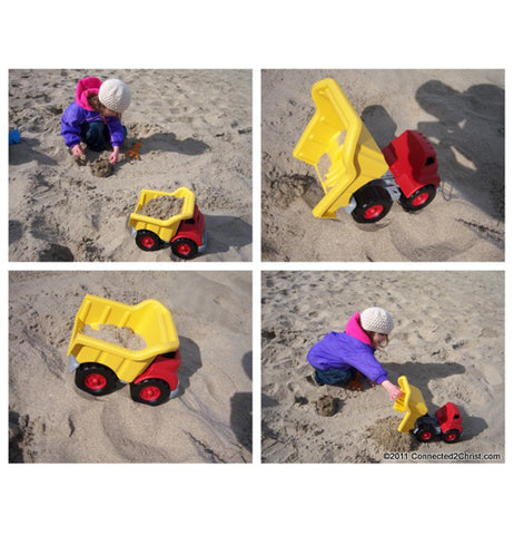 multiple pictures of dump trucks being played with in the sand.