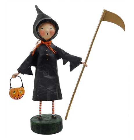 This figurine is of a boy dressed in a Grim Reaper outfit, holding a staff and holding a Jack-O-Lantern basket.