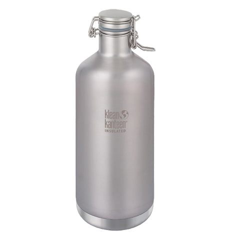 "The 64 oz stainless steel bottle with its logo ""Klean Kanteen"" is shown individually."