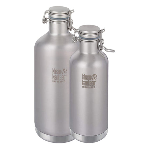 The 64 oz and 32 oz steel bottles are shown together side by side.