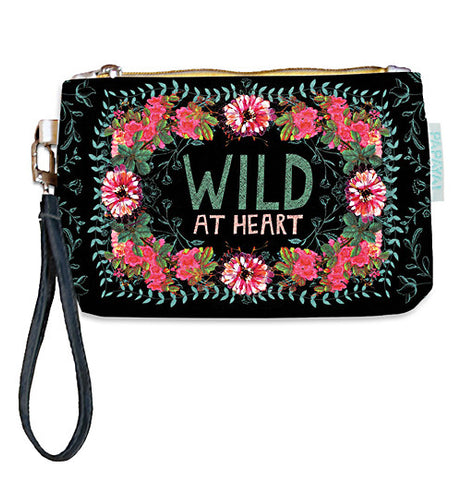 "This wallet has ""Wild At Heart"" printed on it with flowers around it. It has a black background and a wrist strap connected to the zipper."
