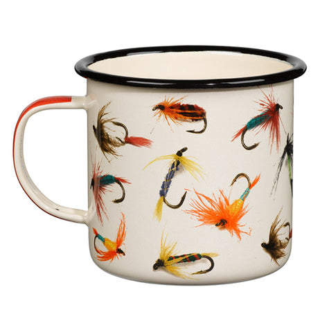 "The left hand side of the ""Flies"" Enamel Mug has artwork of the fishing flies on the outside."