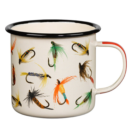 "The right side of the ""Flies"" Enamel Mug has artwork of fishing flies on the outside."