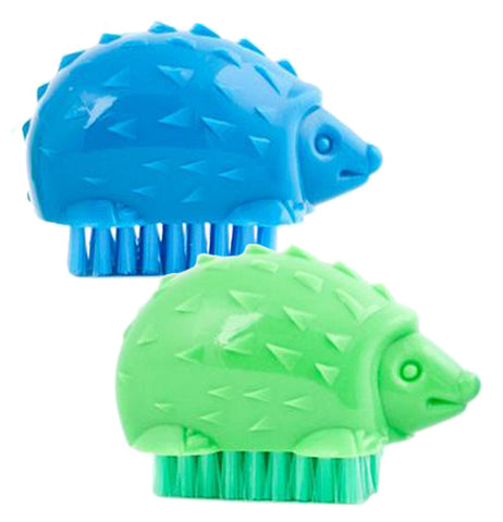 This is a picture of a blue hedgehog and a green hedgehog Nail Brush.