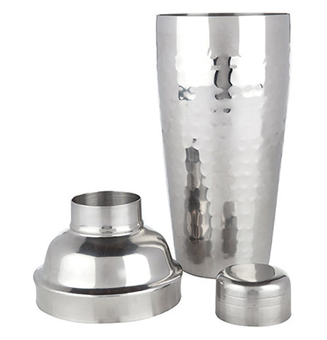 "The ""Admiral"" cocktail shaker is shown with its cap and strainer taken off."