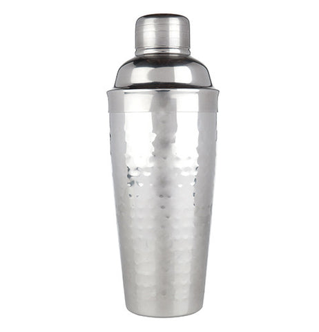 This cocktail shaker is made of silver chrome with a measuring cap and strainer.