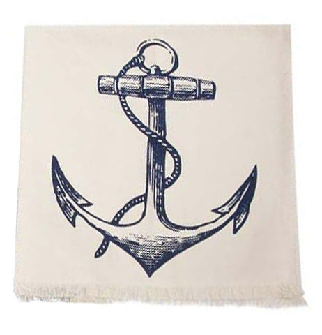 A tea towel with a picture of a detailed blue anchor on a white background.