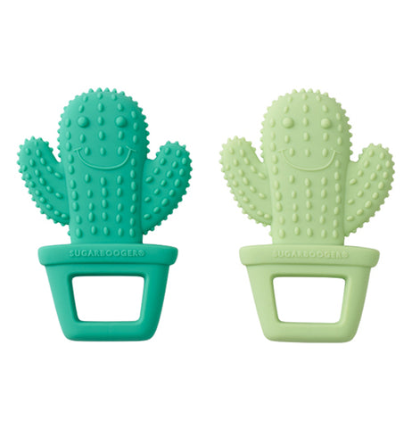 Two cactus teethers that are dark green and one light green; both with smiley faces.