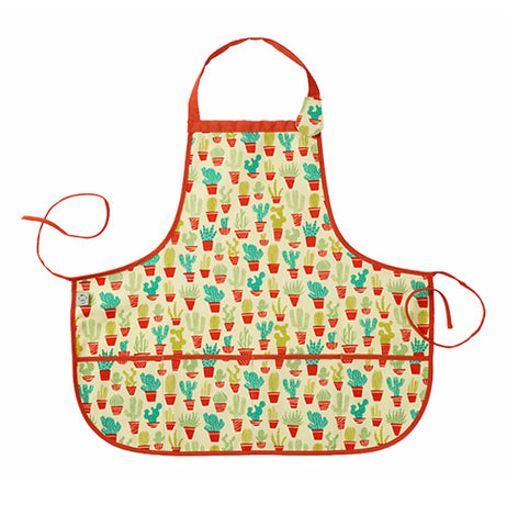 This yellow kiddie apron has a variety of light and dark green cacti in different orange pots with orange tying strings.