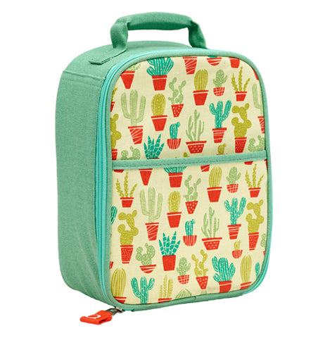 A turquoise and yellow zippee lunch tote with a variety of light and dark green cacti in orange pots with an orange zipper pull and green handle on top.
