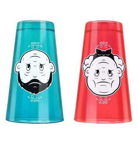 The blue cup with the boy upside down is a grumpy old man and the red cup has the girl upside down as a grumpy old woman.