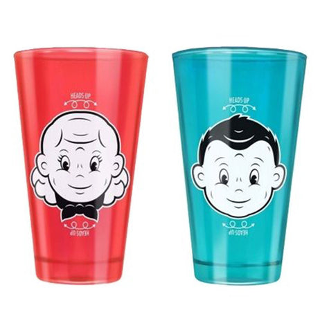 Red cup with a girl smiling and blue cup with a boy smiling.