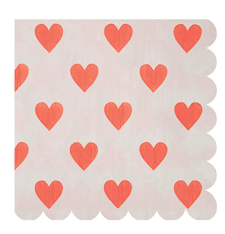 Napkin with a red heart design.