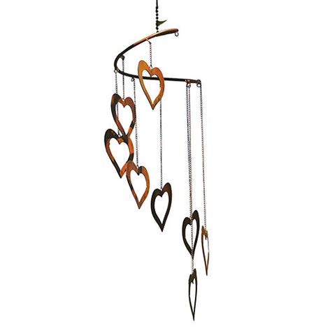 Wind chimes with hearts. It makes peaceful sounds.