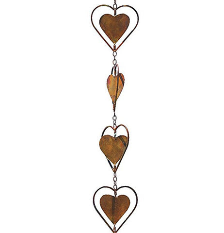 Copper hearts on a chain.