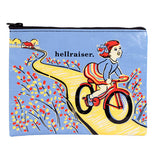 Blue pouch with black zipper and design of a girl wearing a blue shirt with red and yellow striped skirt riding a red bike on a yellow road away from a white house with red roof in the background. The road is lined with red and yellow flowers.