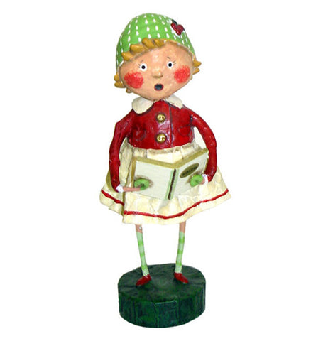 "This figurine is of a girl named Holly wearing a white skirt with a red blouse and a green hat with white spots. She is seen holding a book with the title, ""Carols"" on its front cover."