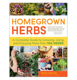 "This hardcover book is titled, ""Homegrown Herbs"" in orange and red lettering and has different pics of veggies and herbs on the front cover."
