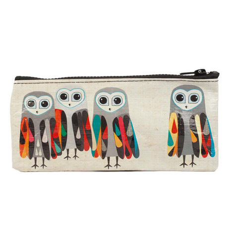 Pencil case with four owls, three on the left and one on the right, all are shades of grey with water drop patterns on their wings that are randomly colored red, blue, yellow, orange, and green, and zipper closure.