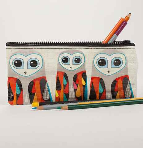 Pencil case with close look at 3 owls with multi-colored wings with colored pencils inside and outside case.